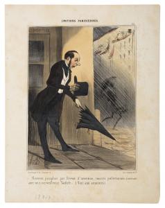 Honoré Daumier, Ein neu patentierter Regenschirm, 1840, Handkolorierte Lithografie, Kunstmuseum Pablo Picasso Münster