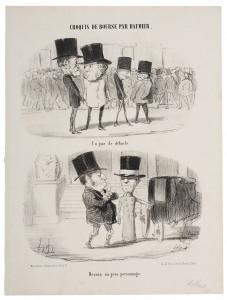 Honoré Daumier, Ein schwarzer Börsentag - Einer, der es gschafft hat, 1852, Lithografie, Kunstmuseum Pablo Picasso Münster