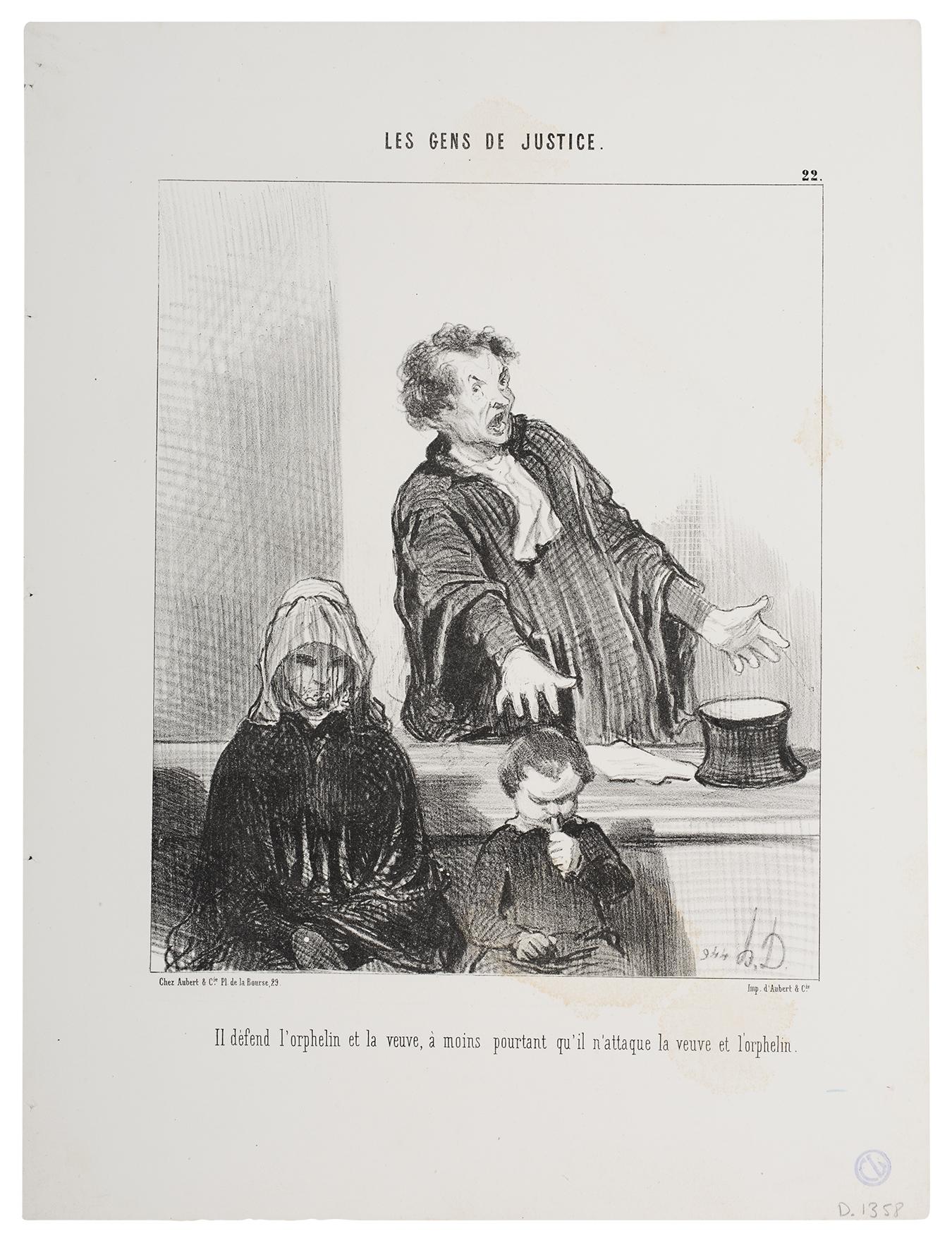 Honoré Daumier, Er verteidigt die Witwen und Waisen..., 1846, Lithografie, Kunstmuseum Pablo Picasso Münster