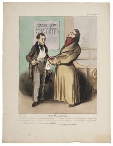 Honoré Daumier, Robert Macaire als Arzt, 1836, Handkolorierte Lithografie, Kunstmuseum Pablo Picasso Münster