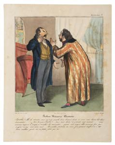Honoré Daumier, Robert Macaire als Zahnarzt, 1837, Handkolorierte Lithografie, Kunstmuseum Pablo Picasso Münster