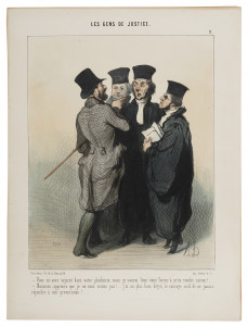 Honoré Daumier, Sie haben mich in Ihrem Plädoyer beleidigt, 1845, Handkolorierte Lithografie, Kunstmuseum Pablo Picasso Münster